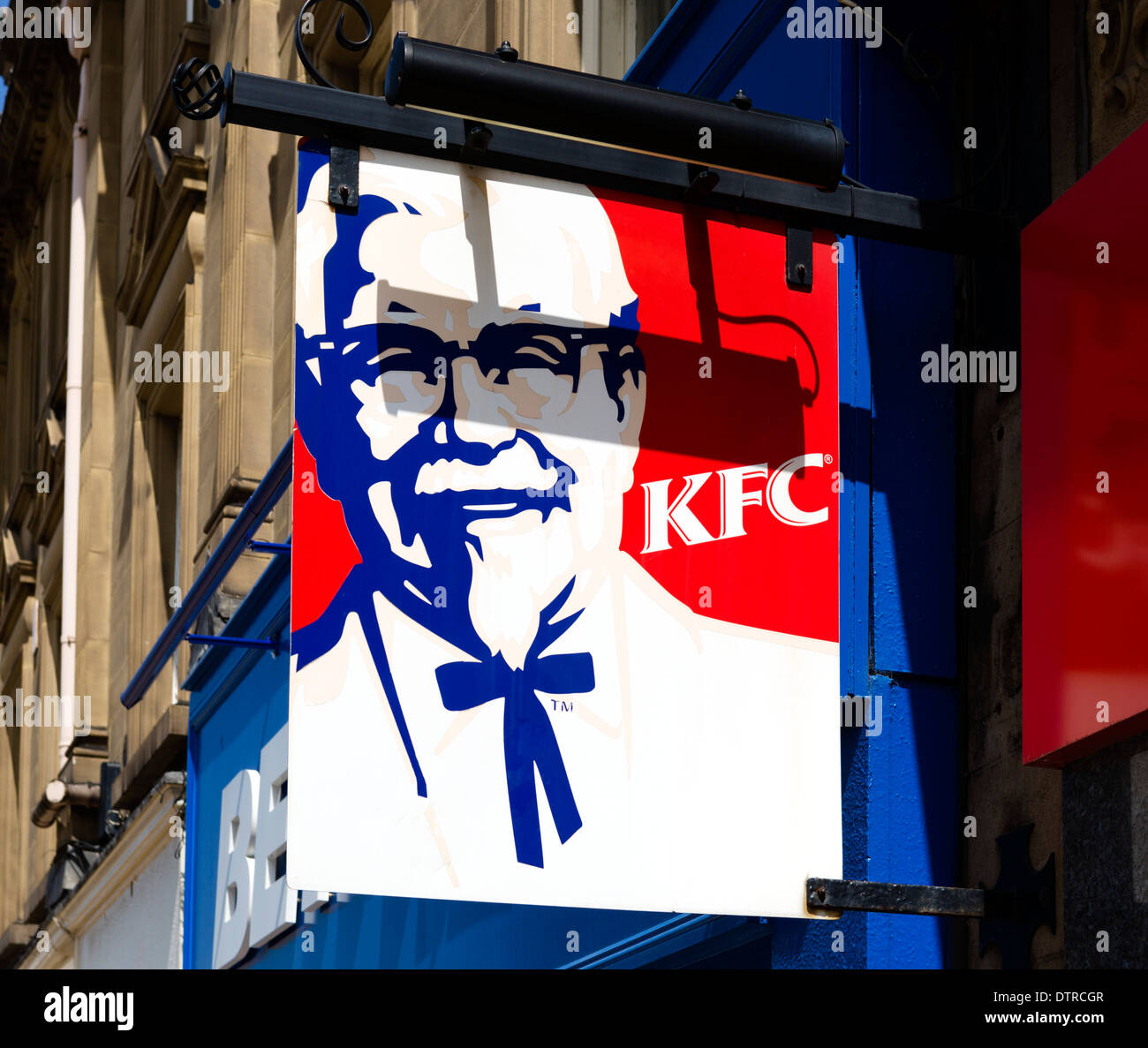 KFC restaurant in the town centre, Huddersfield, West Yorkshire, England, UK - Stock Image