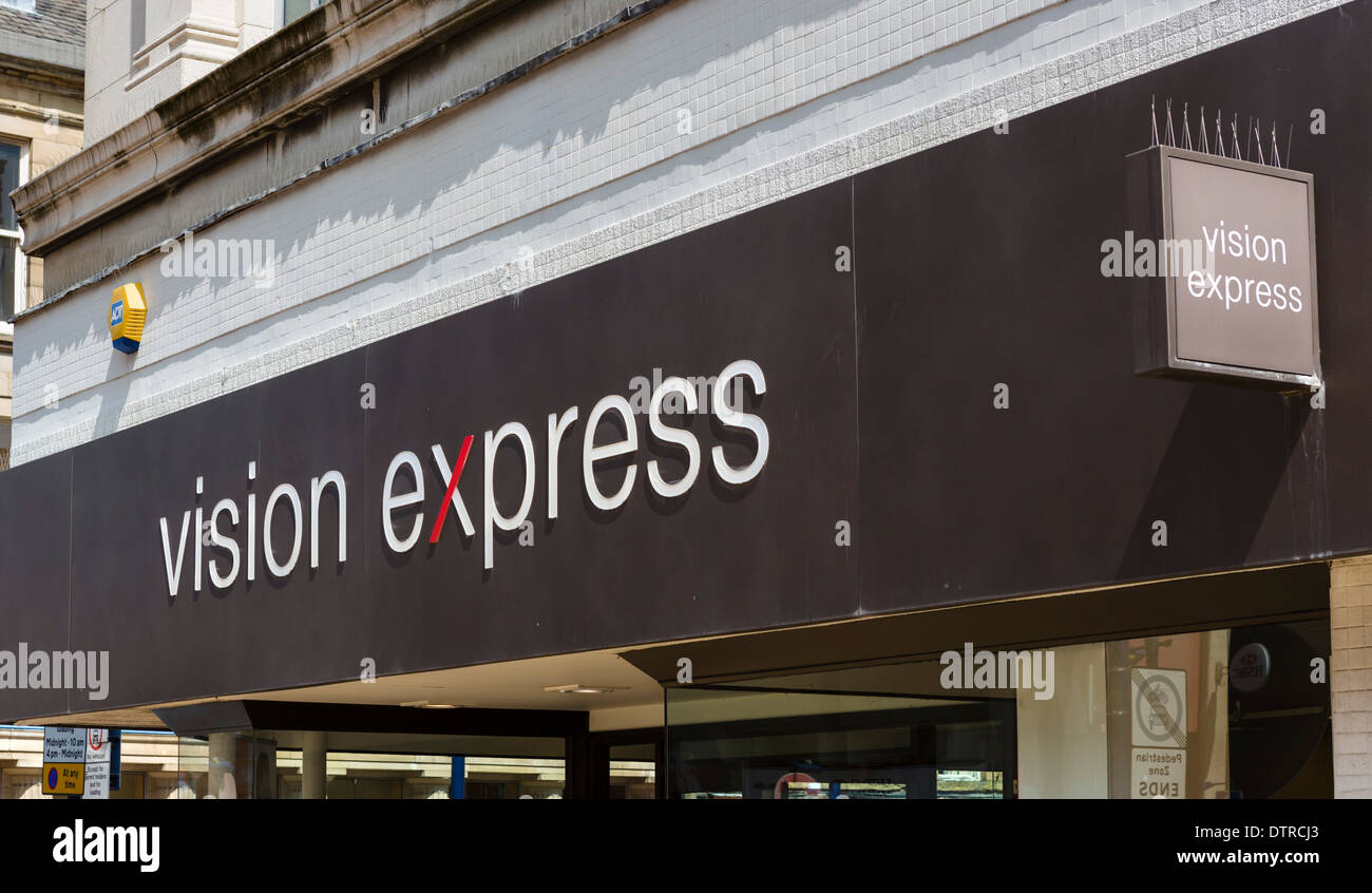 Vision Expres optician, New Street, Huddersfield, West Yorkshire, England, UK - Stock Image