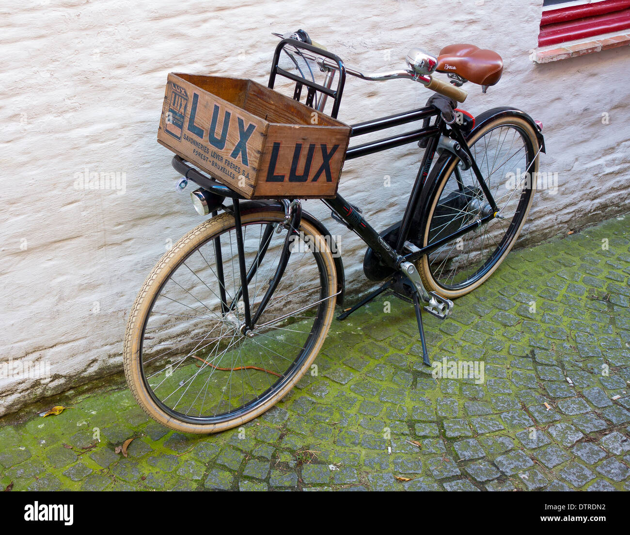 Bicycle With Wooden Lux Box Bruges Brugge Stock Photo 66898526