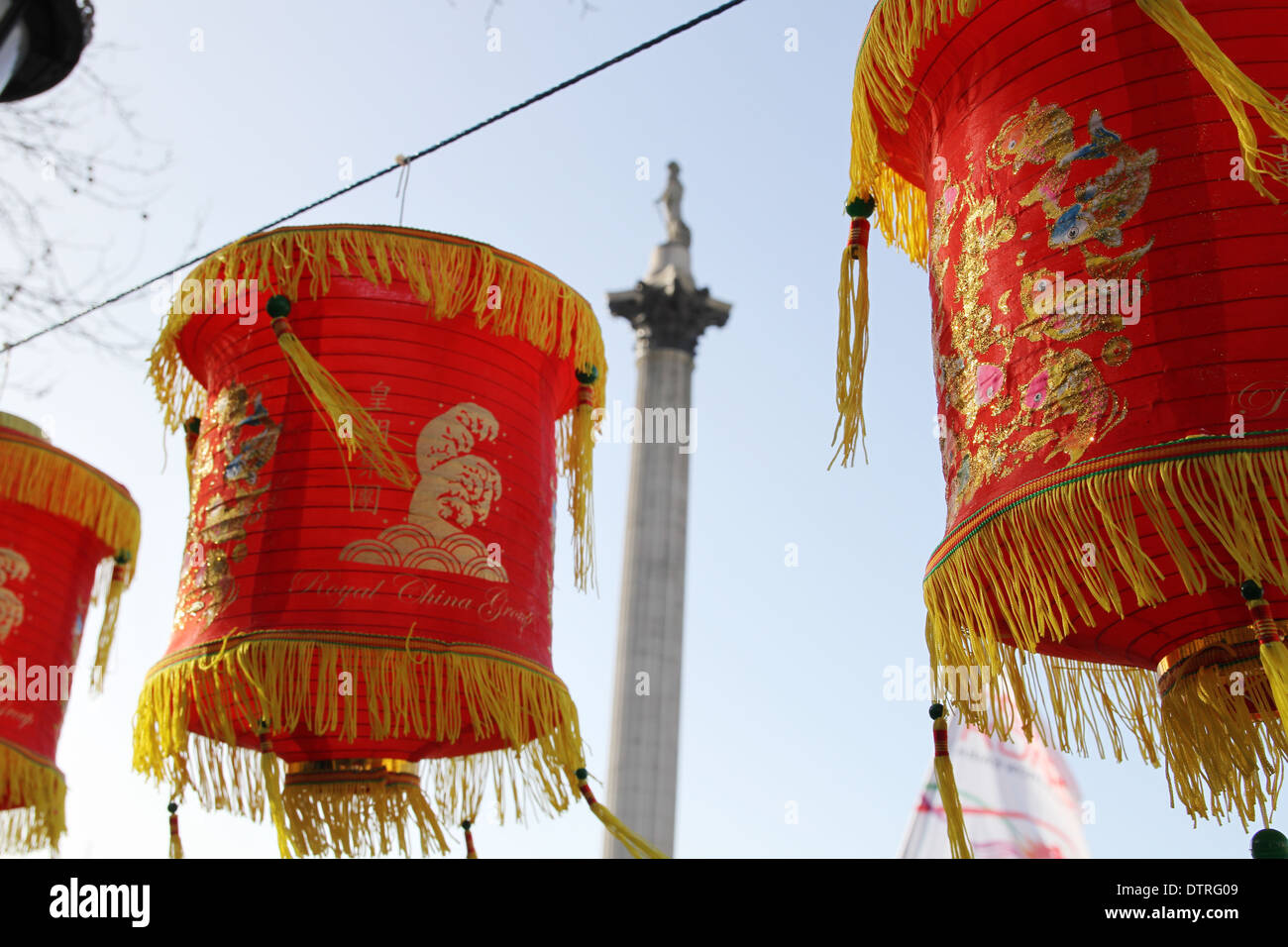 Chinese lanterns on display for Chinese new year in Trafalgar square