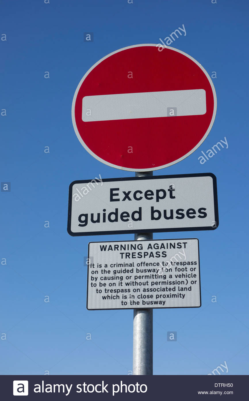 No entry and trespass warning sign at the Fen Drayton nature reserve on the guided busway between St Ives and Cambridge - Stock Image
