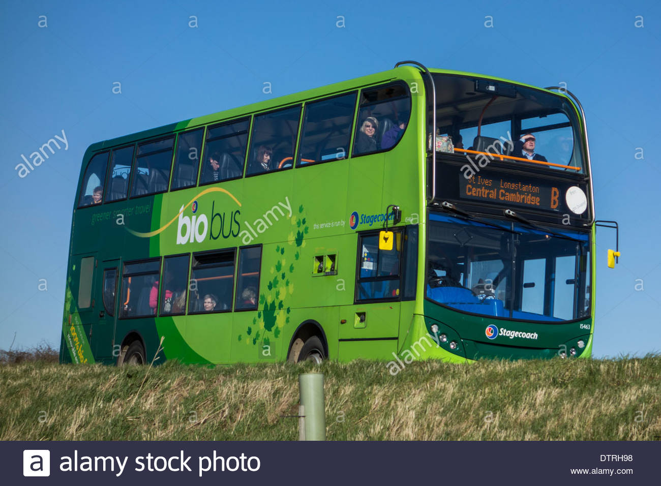 Double decker Stagecoach bio bus on an elevated section of the guided busway between St Ives and Cambridge - Stock Image
