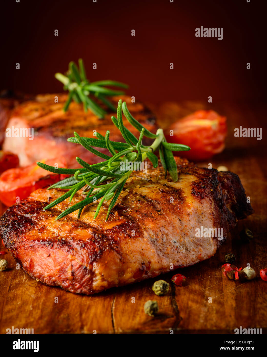 still life with grilled meat steak closeup detail and spices Stock Photo