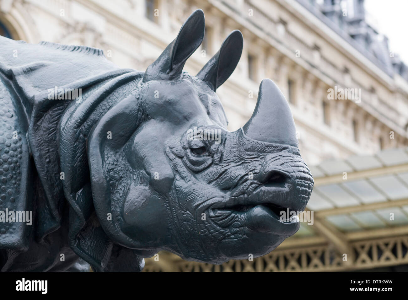 Rhinoceros statue outside the Musee d'Orsay, Paris, France - Stock Image