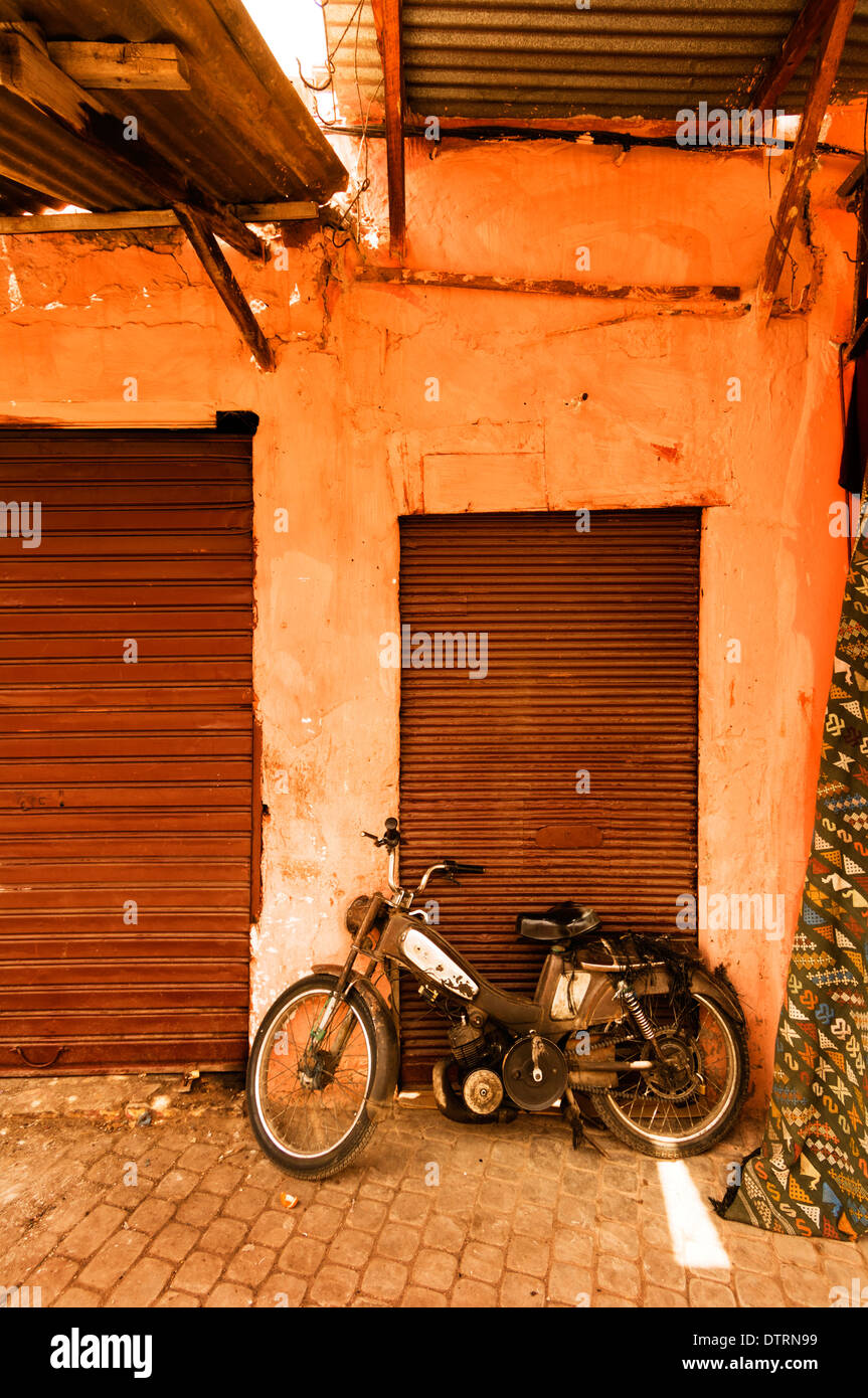 A motorcycle in the Marrakesh Medina. Stock Photo
