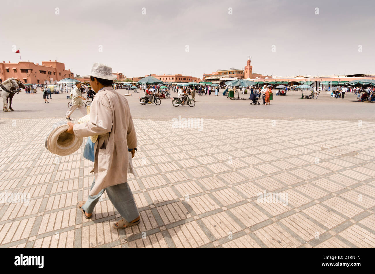 Place Djemaa el Fna in the Medina of Marrakesh, Morocco. - Stock Image