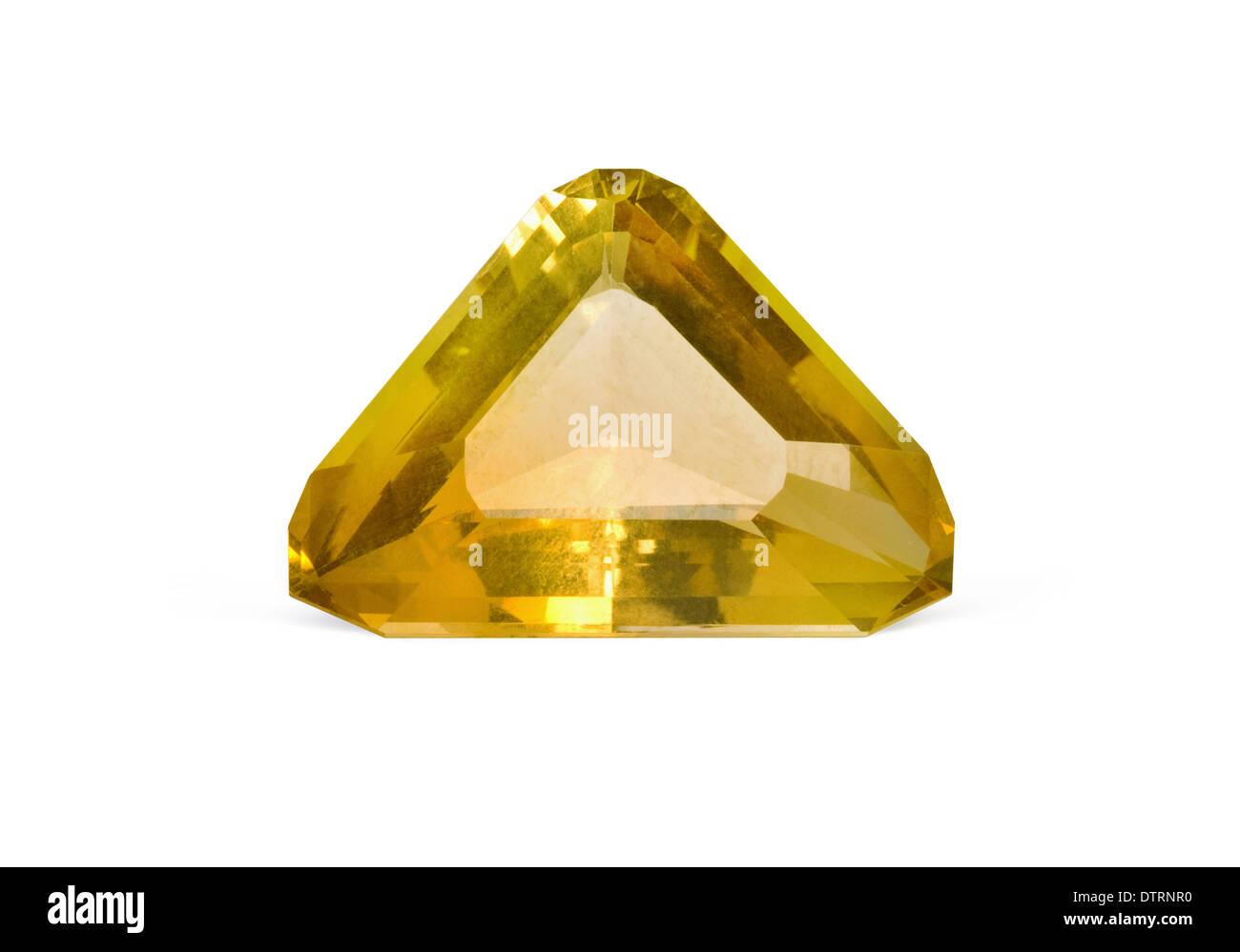 Citrine gemstone on white background - Stock Image