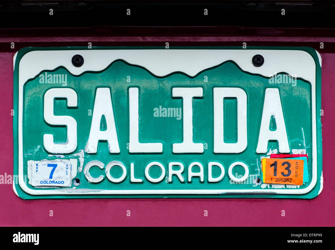 Colorado state automobile license plate reads 'Salida' in Salida, Colorado, USA - Stock Image