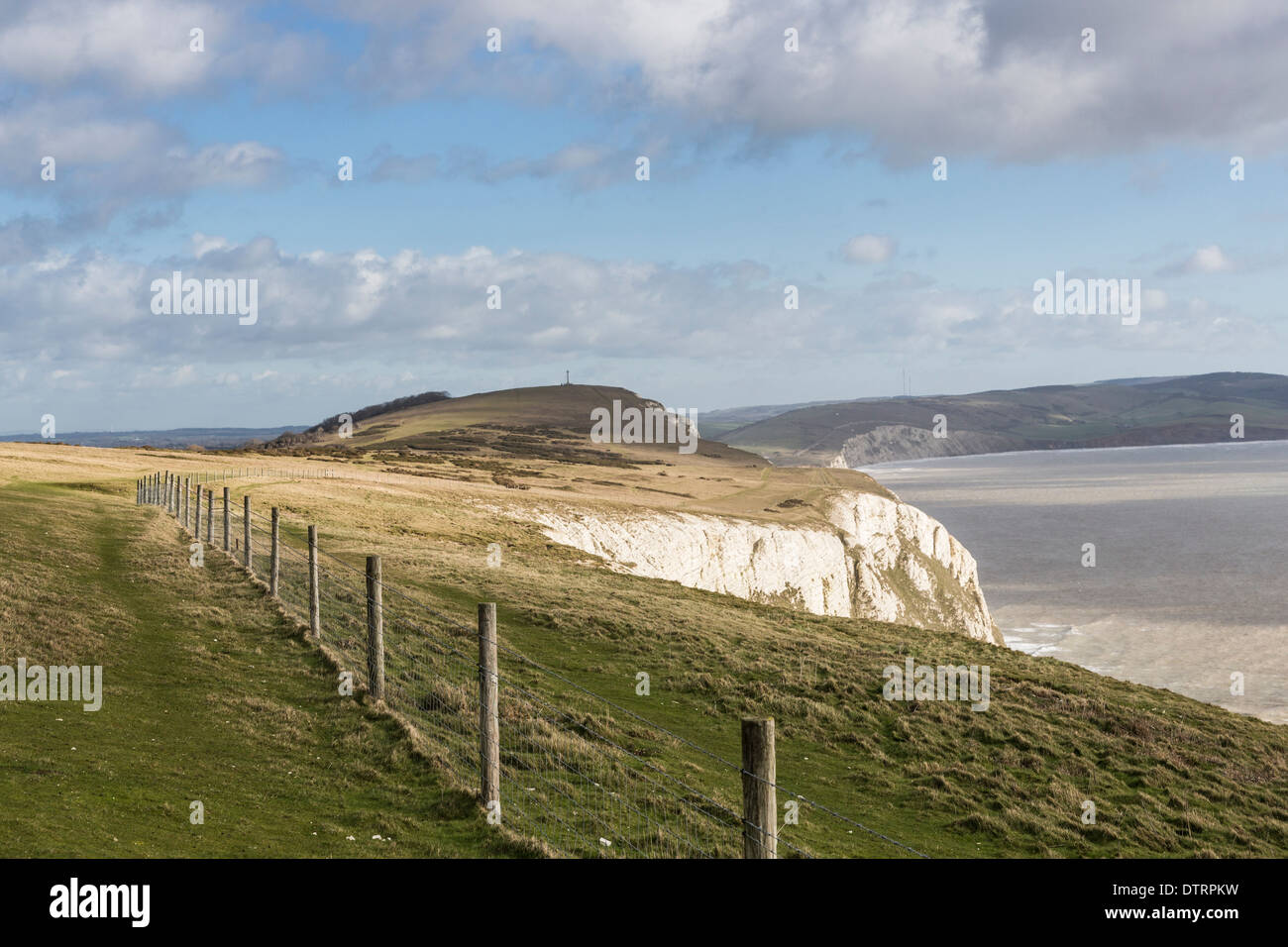 Tennyson Down, chalk downland above the cliffs on the shore of The Needles Country Park, Isle of Wight, UK in good weather - Stock Image