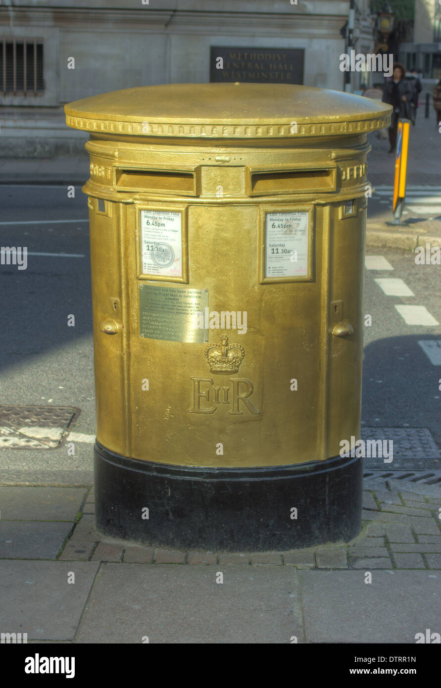 gold postbox   london - Stock Image