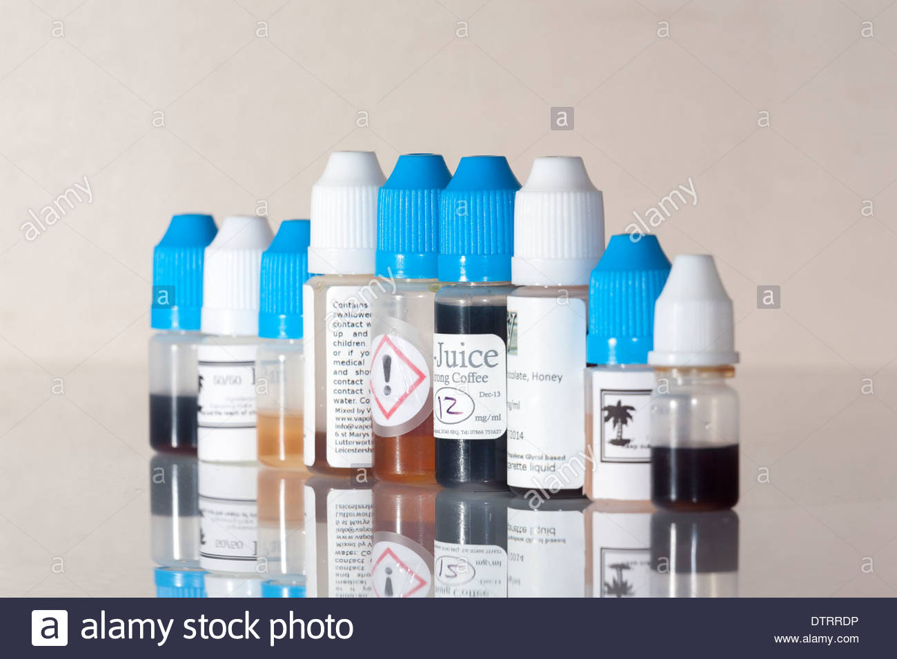 e-juice for use in electronic cigarettes - Stock Image