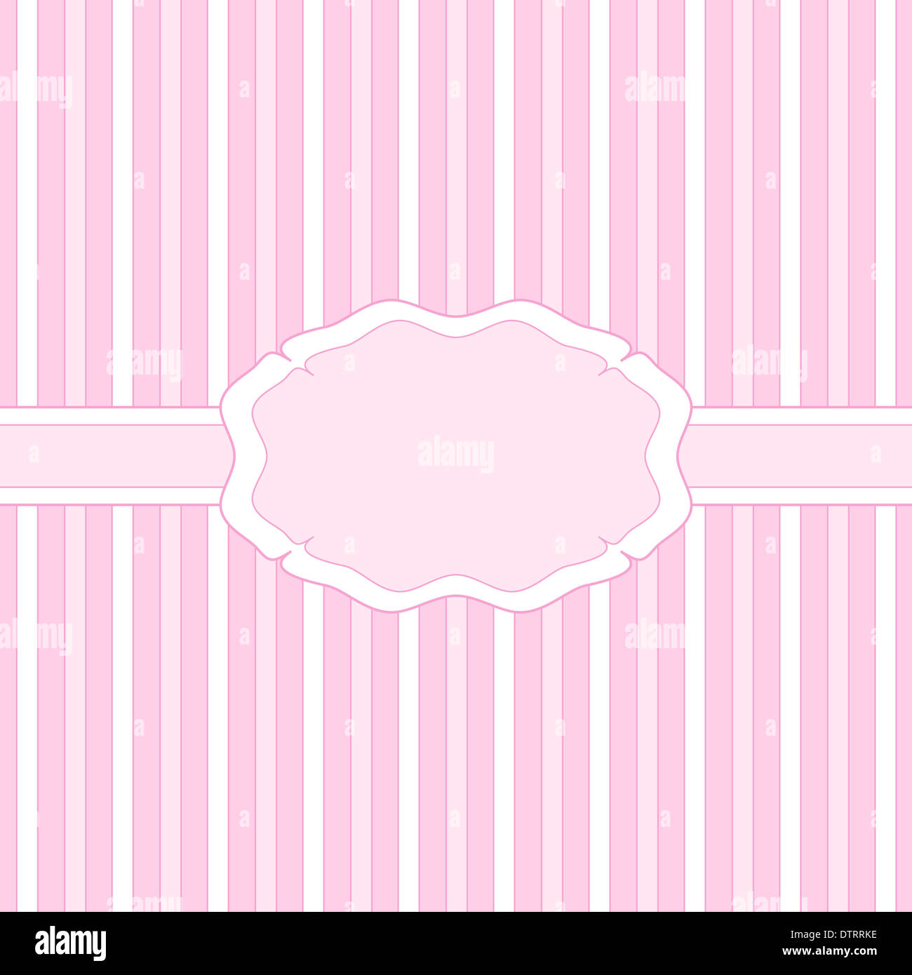 Pink banner design on stripes Stock Photo