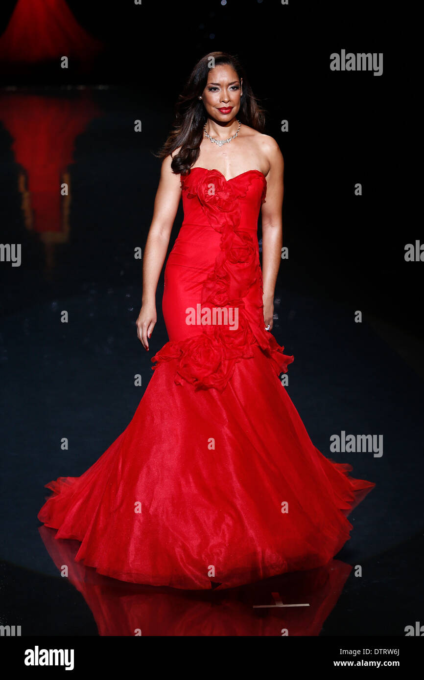00a126b31 Gina Torres wears Marchesa on the runway at Go Red for Women - The Heart  Truth