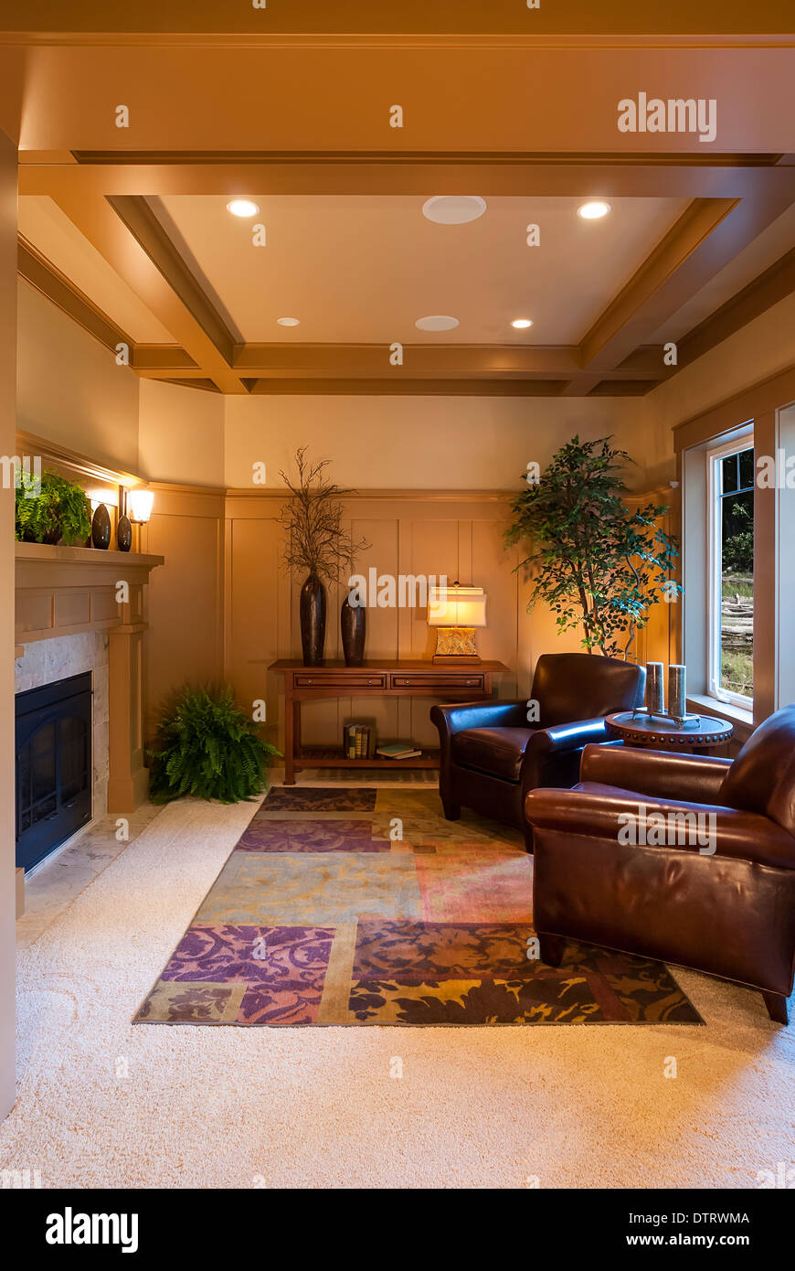 Sitting Room Or Parlor In A Luxury Home Showing Vaulted Ceiling.