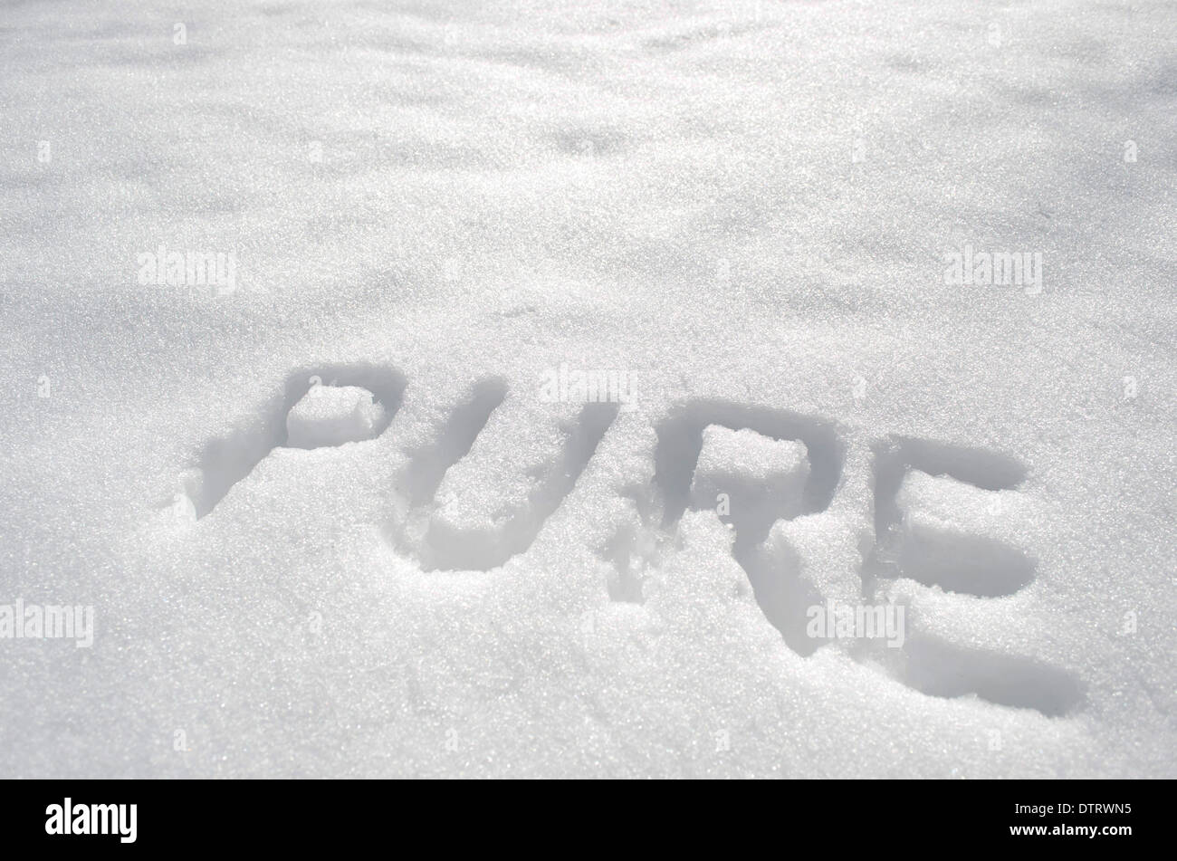 Pure written is snow. - Stock Image