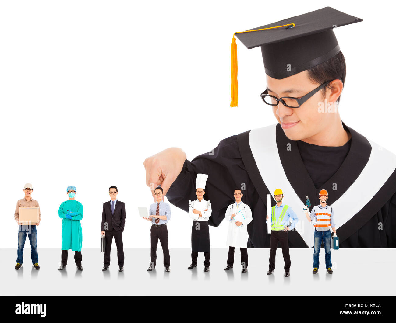 Graduation male student have different  careers to choose over white - Stock Image