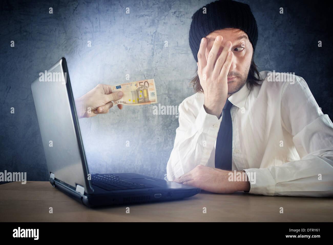 Online money funds, surprised businessman receiving cash over internet. Earning money on network. - Stock Image