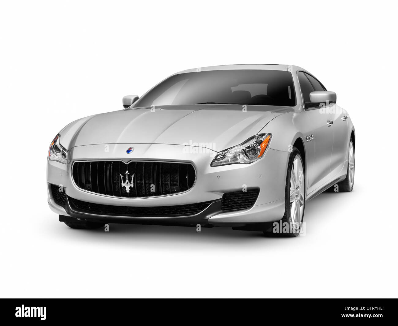 2014 Maserati Quattroporte S Q4 luxury car isolated on white background with clipping path - Stock Image