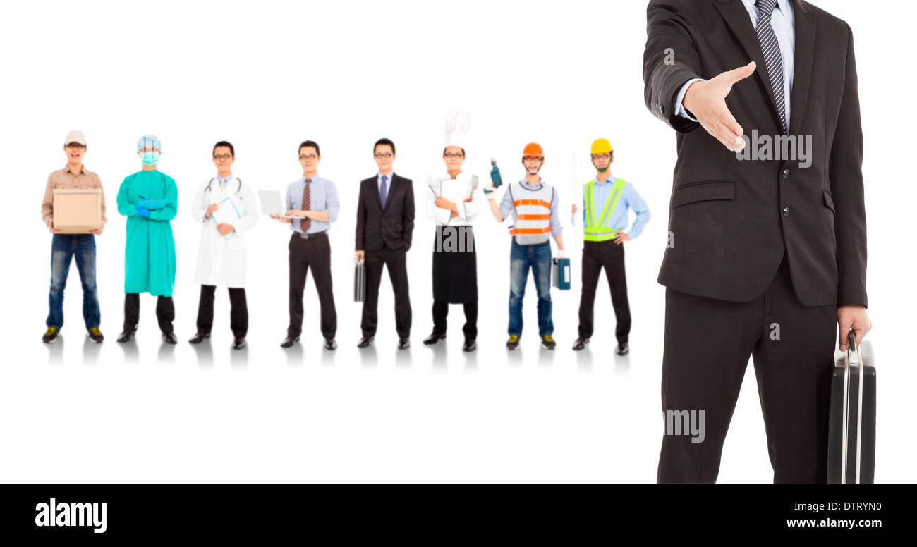 businessman cooperate with different industries people over white - Stock Image