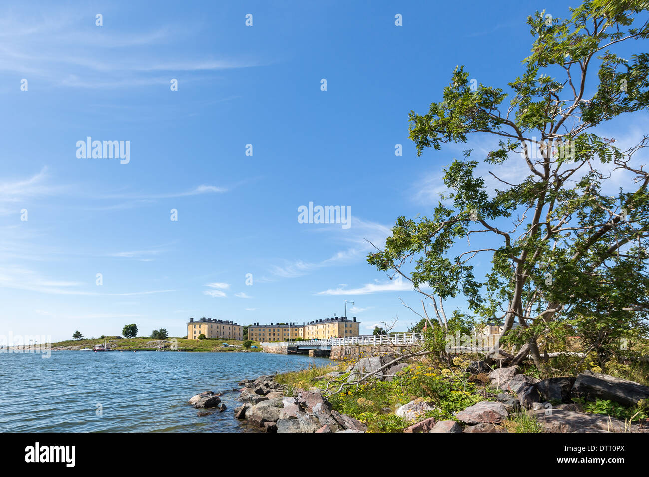 A view from Länsi-Musta island and its barracks in Suomenlinna fort islands in front of Helsinki, Finland, EU - Stock Image