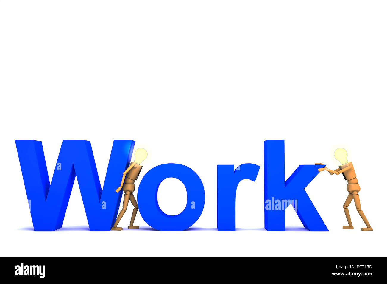 the wooden doll with work word 3d illustration stock photo 66910633