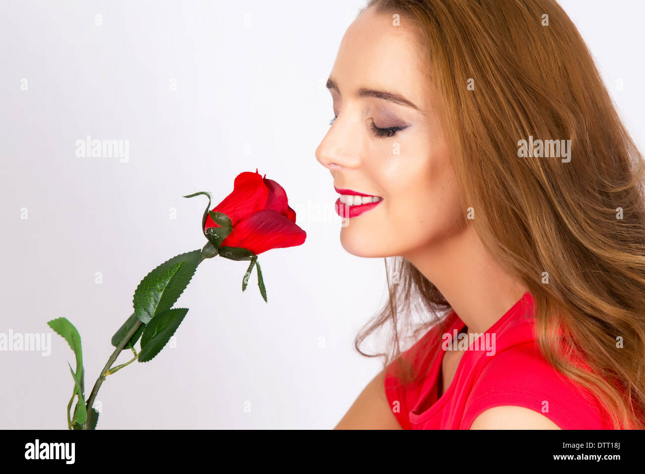 Lady received a single red rose - Stock Image