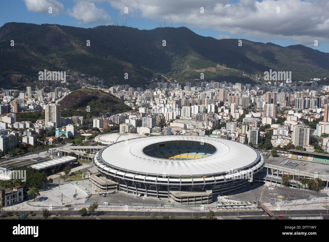 Aerial view of Maracana national stadium in Rio de Janeiro, which will host the World Cup final 2014 in Brazil - Stock Image
