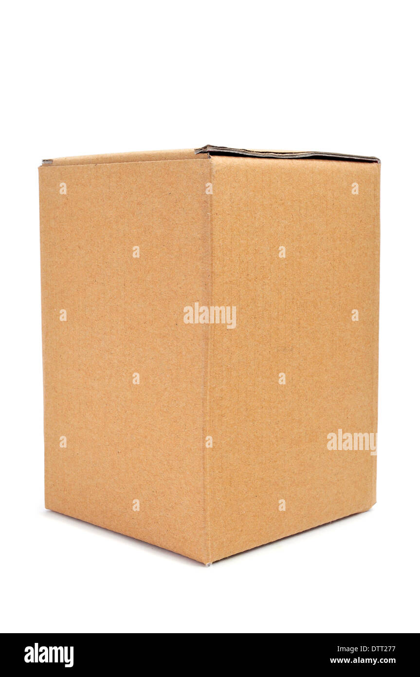 a cardboard box on a white background - Stock Image