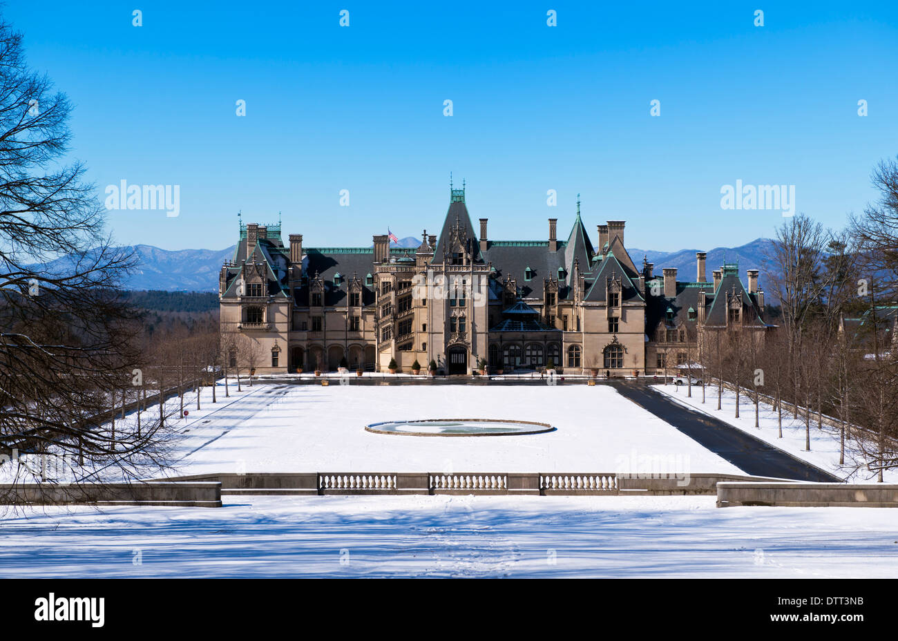 The Biltmore Mansion Front View With Mountains In Background Snow On Ground Asheville North Carolina