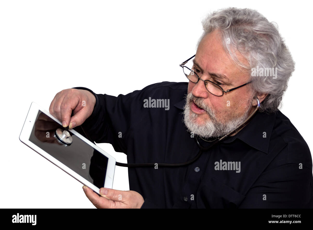 Senior is doing tablet pc diagnosis - Stock Image