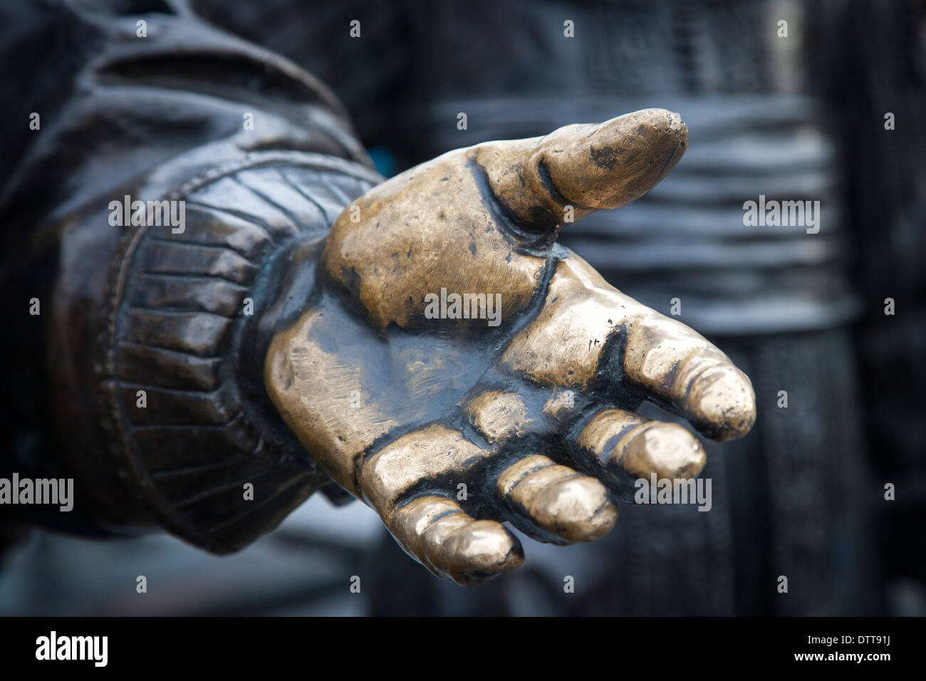Hand detail from a statue from the NACHTWACHT in 3D, Nightwatch statues, surrounding the statue of Rembrandt , Amsterdam - Stock Image