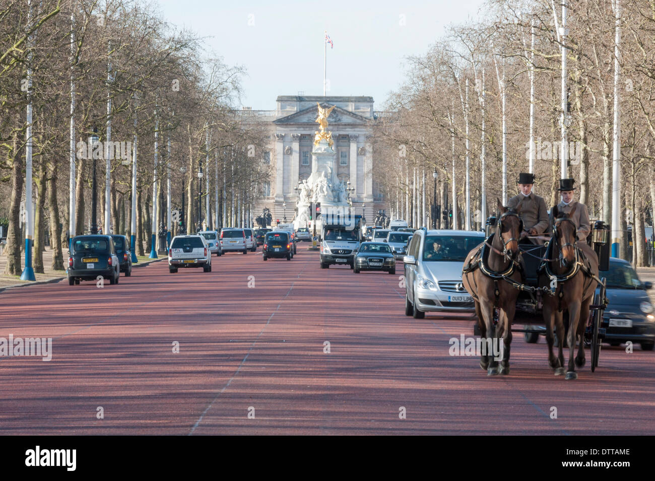 The Mall, London, UK. 24th February, 2014. Air pollution near Buckingham Palace is the worst in the UK & almost 4 times the EU legal limit, according to the latest figures. Last week the European Commission launched legal proceedings against the UK for failing to deal with high levels of NO2. Credit:  Lee Thomas/Alamy Live News - Stock Image