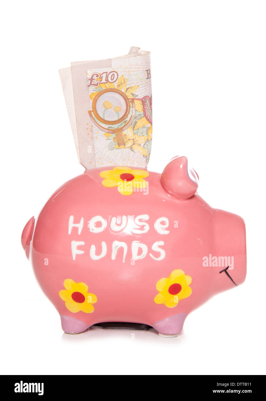 House funds savings piggy bank cutout - Stock Image