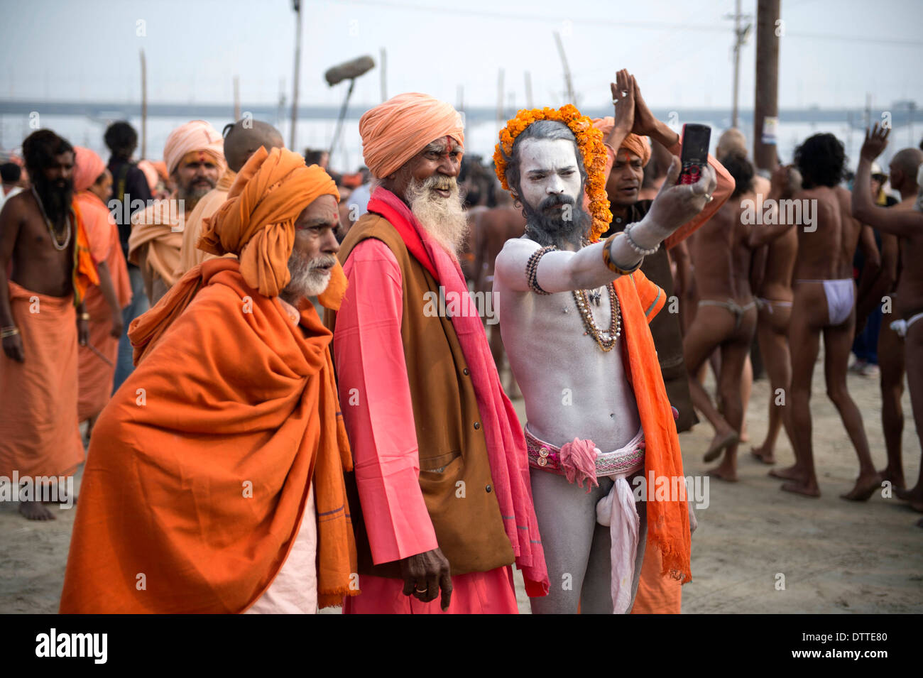 Allahabad (India) : the Maha Kumbh Mela mass Hindu pilgrimage on the Ganges river's banks (January, 2013) - Stock Image