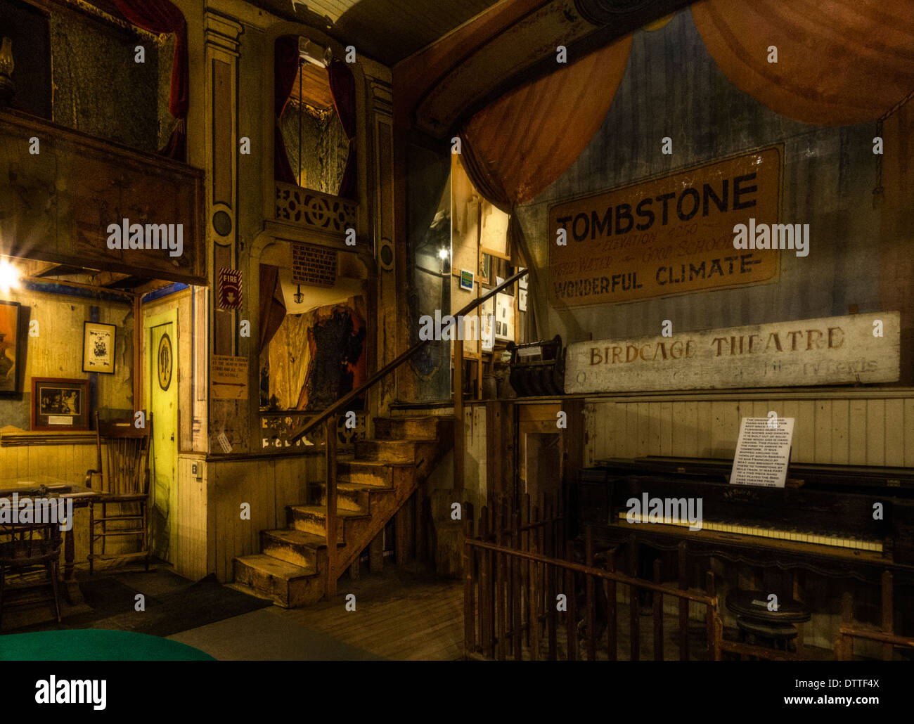 A view of the stage at the Bird Cage Theater in historic Tombstone Arizona - Stock Image