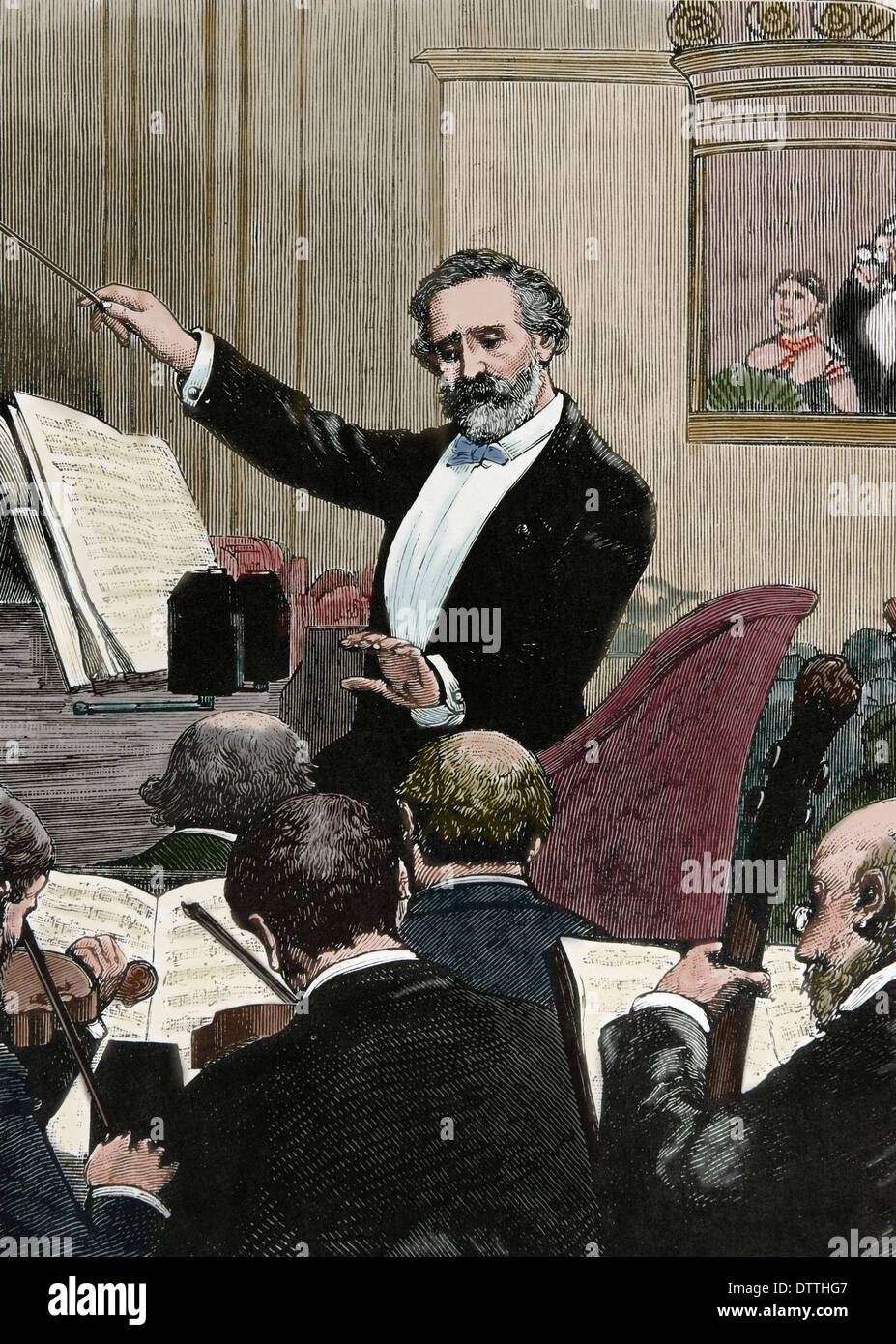Giuseppe Verdi (1813-1901). Italian romantic composer. 'France, Paris. Verdi conducting one of his own operas'.Color engraving - Stock Image