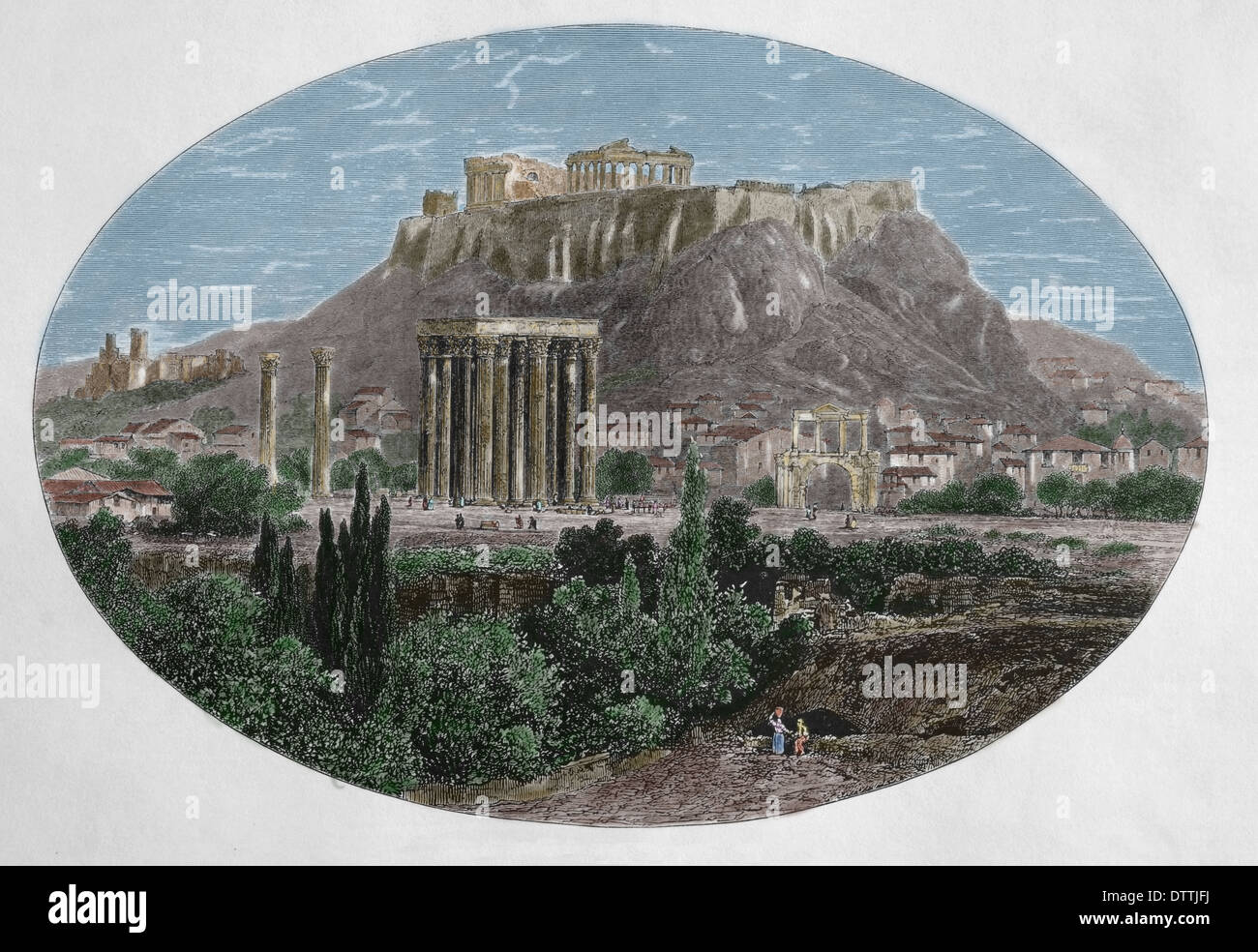 Greece. Athens. Temple of Jupiter and Acropolis Athens. Wood engraving by Edward Whymper, 1879. (Later colouration). - Stock Image