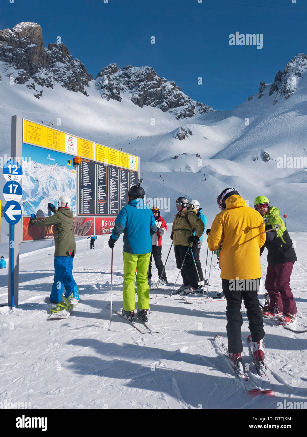 Piste map on the Galzig Valluga area of the slopes of St Anton in Austria - Stock Image