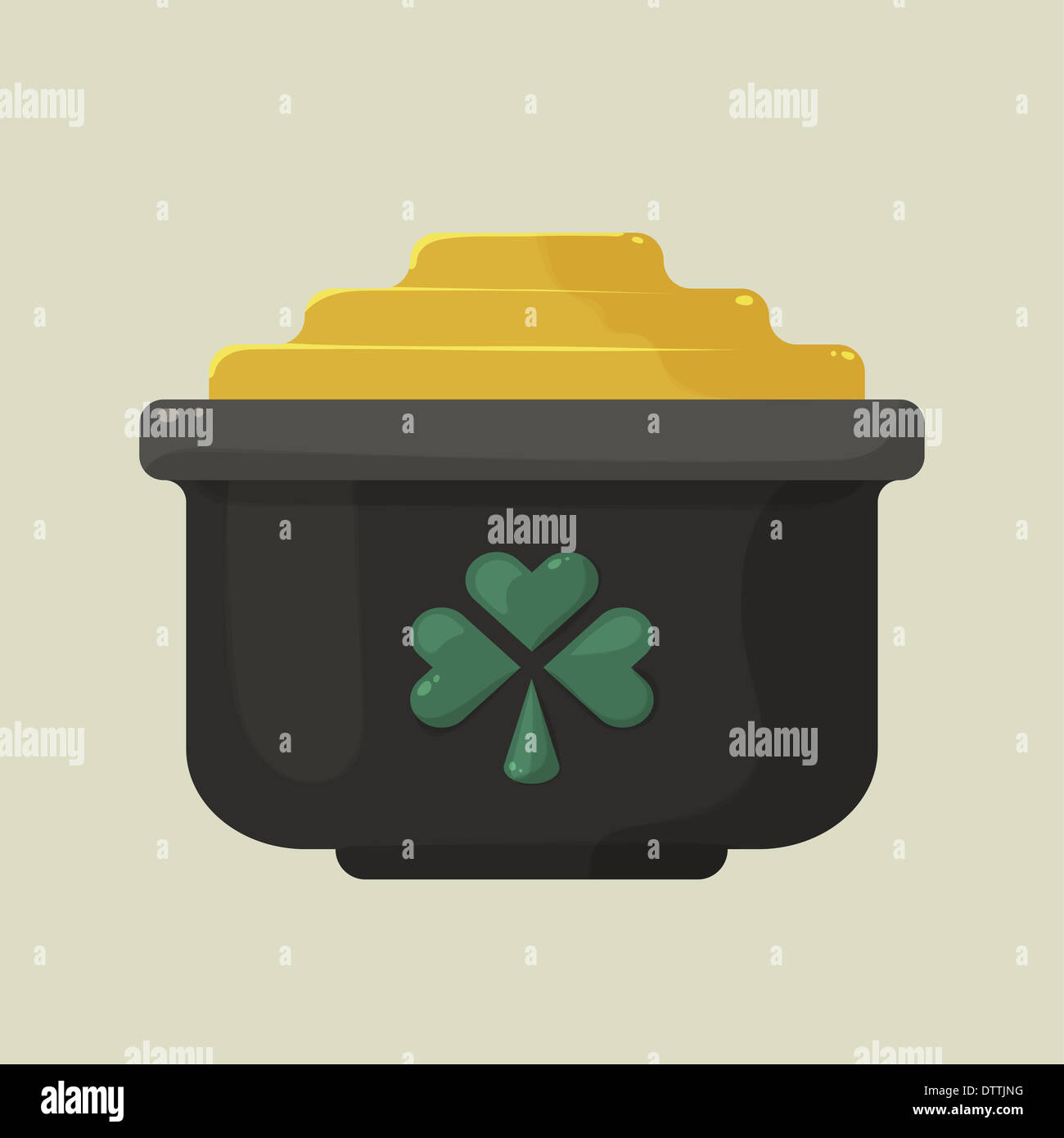 Stylized shiny cartoon pot of gold with a green shamrock - Stock Image