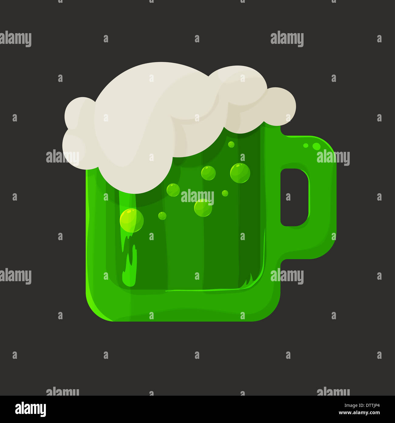 Stylized shiny glass mug with green beer and foam - Stock Image