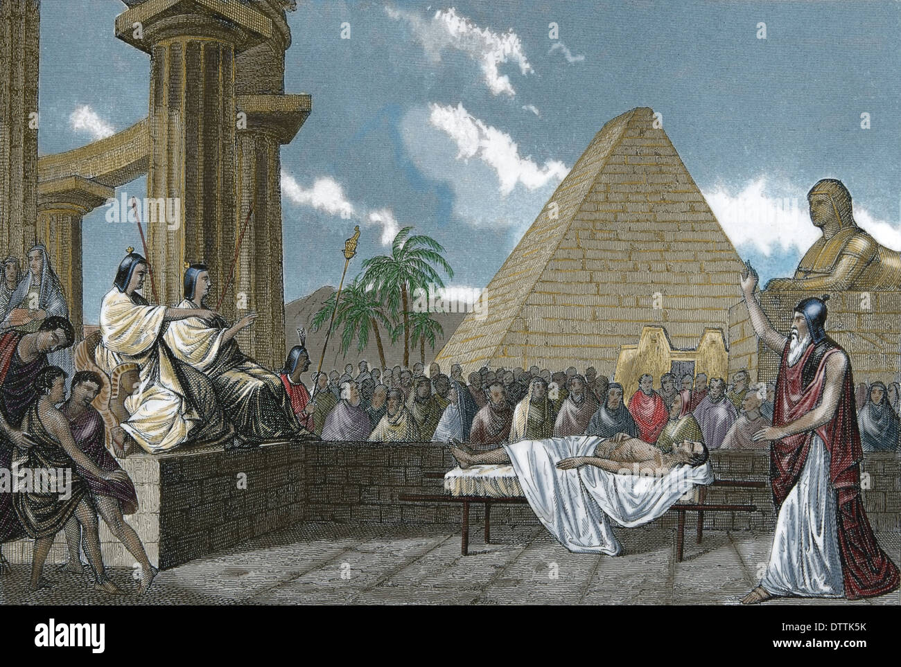 Ancient Times. Egypt. court of the dead. Engraving. (Later colouration). - Stock Image