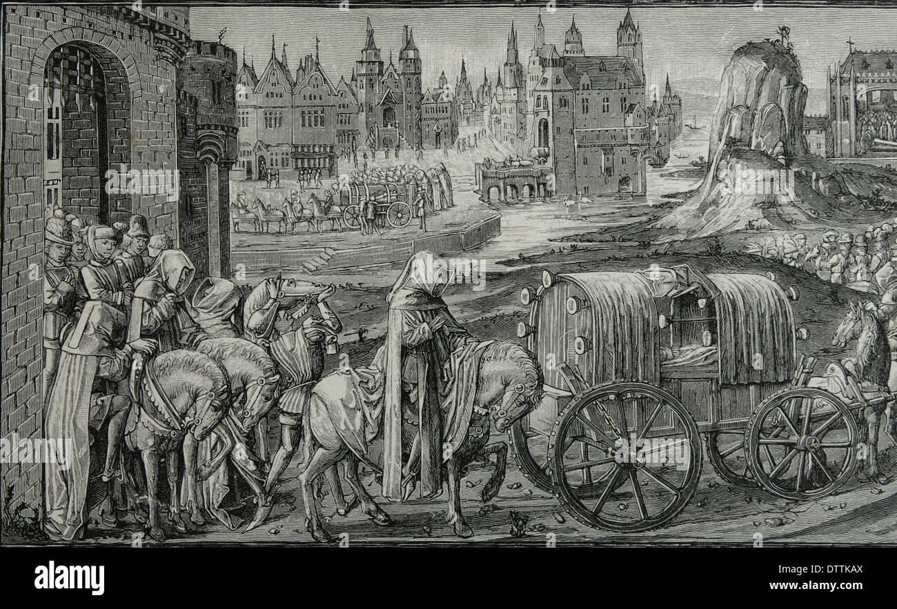 King Richard II of England (1367-1400) Funeral cortege of Richard II leaving Pontefract Castle. Miniature  Froissart's Chronicle - Stock Image