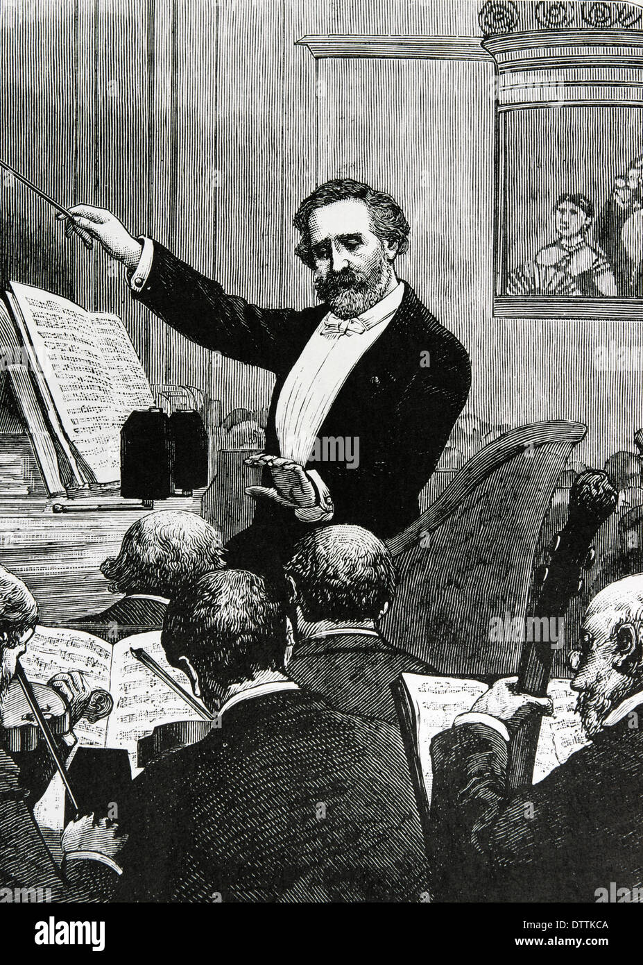 Giuseppe Verdi (1813-1901). Italian romantic composer. 'France, Paris. Verdi conducting one of his own operas'. Engraving - Stock Image