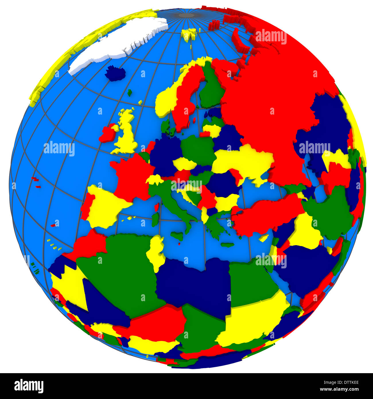 Europe, political map of the world with countries in four colors ...