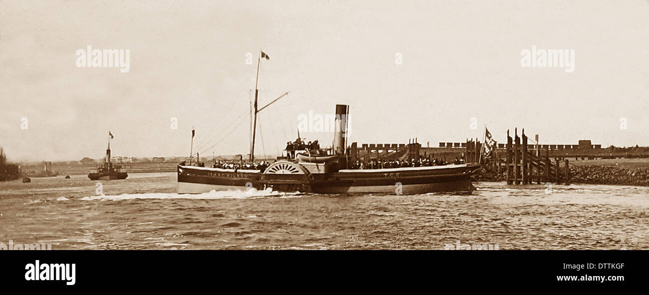 The 'Isaac Wilson' paddle steamer on the River Tees owned by the 'Tees Conservancy Commissioners' - Victorian period - Stock Image