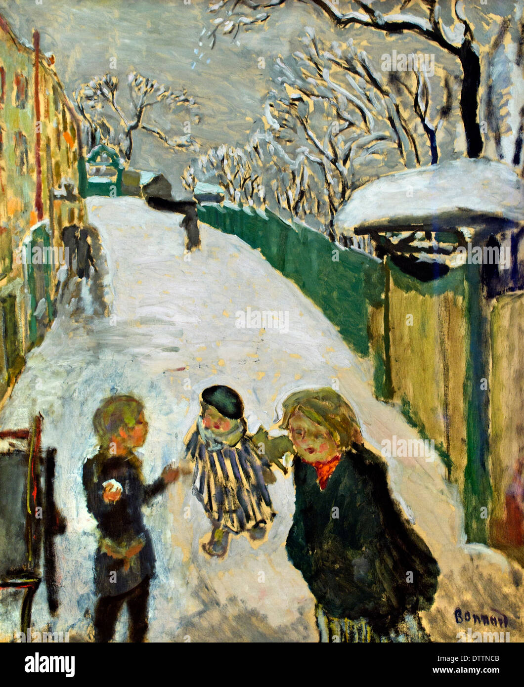 Street in the snow with children playing 1907 Pierre Bonnard 1867-1947  France French - Stock Image