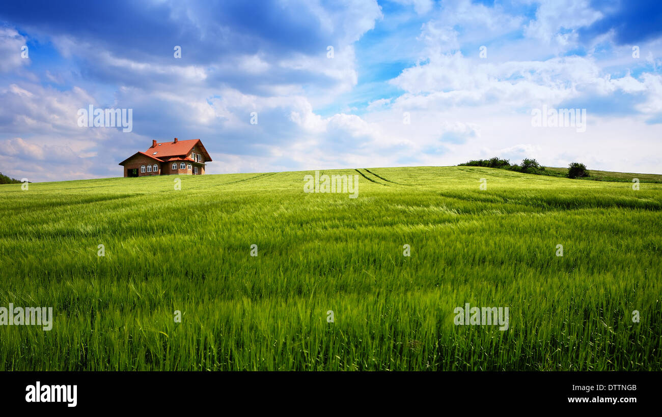 New house on blue sky - Stock Image