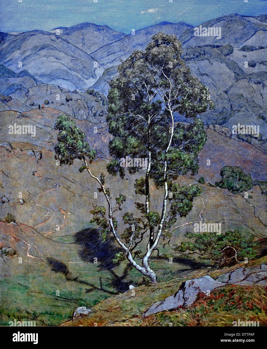 Die Birke Bei Schönau im Schwarzwald - The Birch In Schönau im Schwarzwald 1904 Hans Thoma 1839 - 1924 German Germany - Stock Image