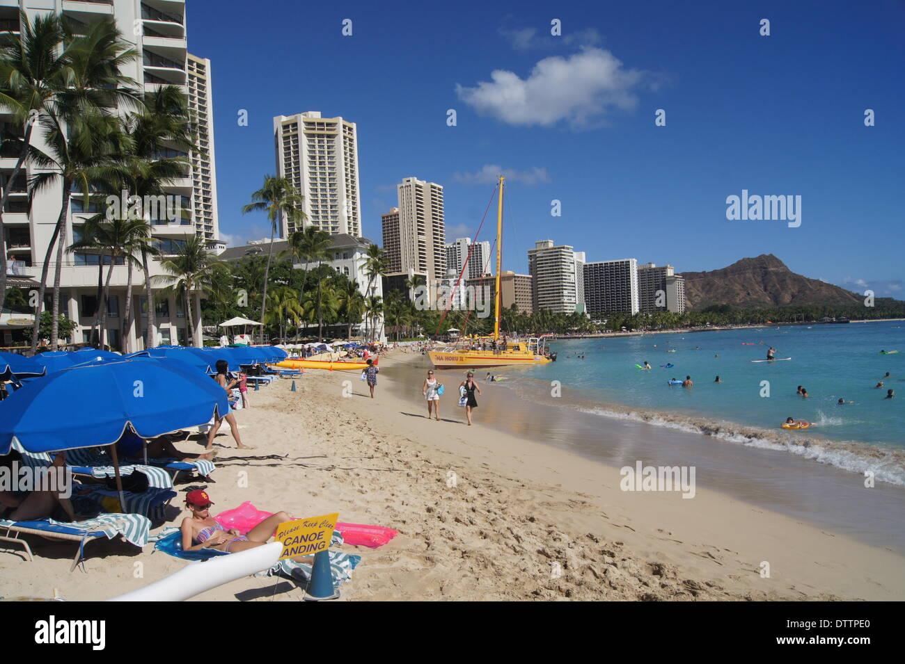 waikiki beach,honolulu - Stock Image