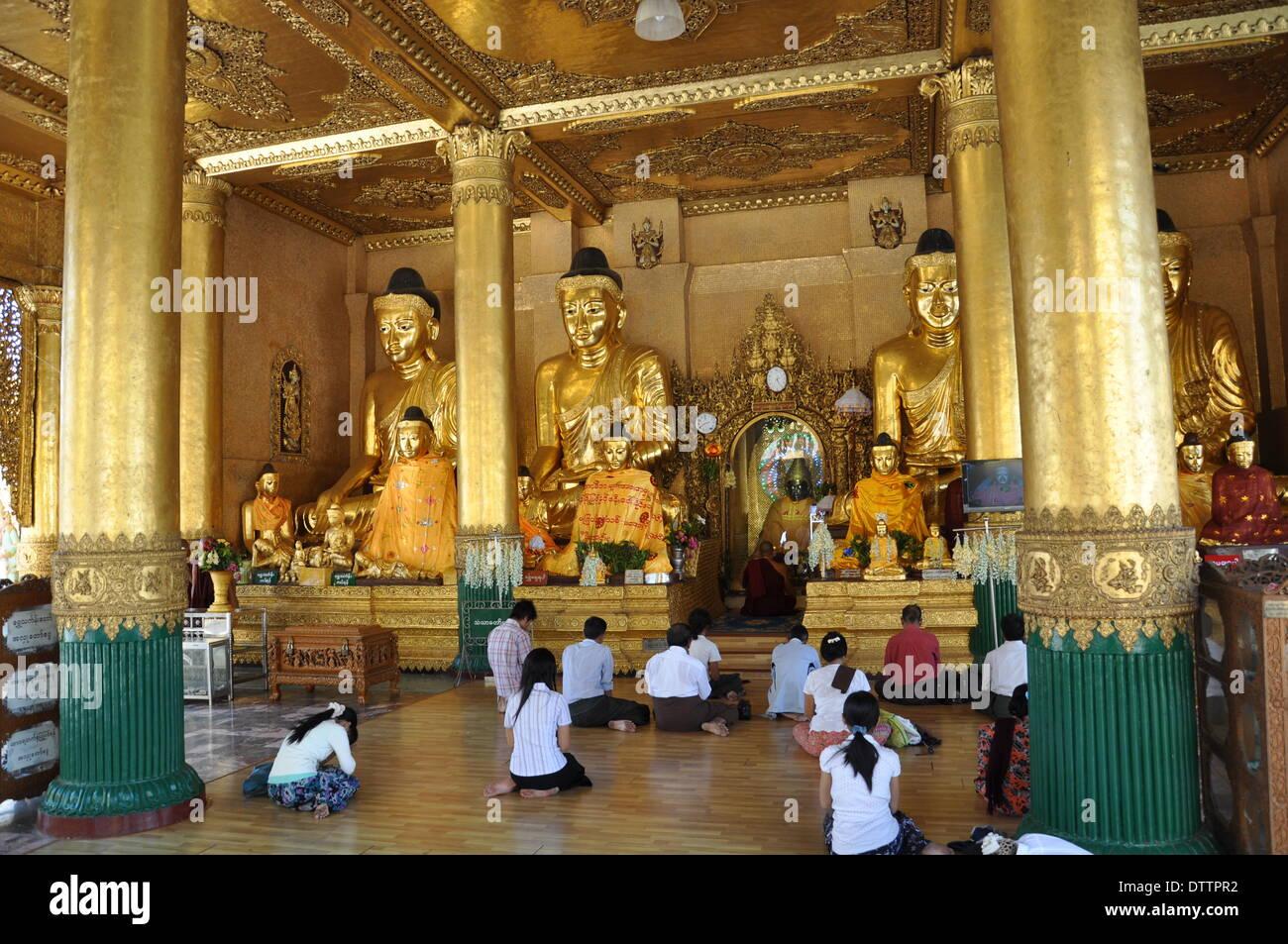 praying buddhist women Stock Photo